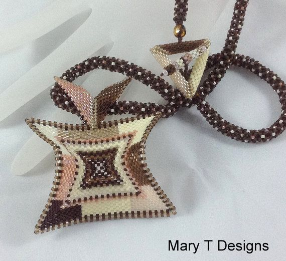 Brown and Cream Beadwoven Pendant Necklace.... by MaryTDesigns