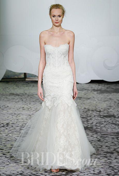 Brides.com: Spring 2016 Wedding Dress Trends Sweetheart silk-printed sheath with tulle overskirt, Carolina HerreraPhoto: Courtesy of Carolina Herrera
