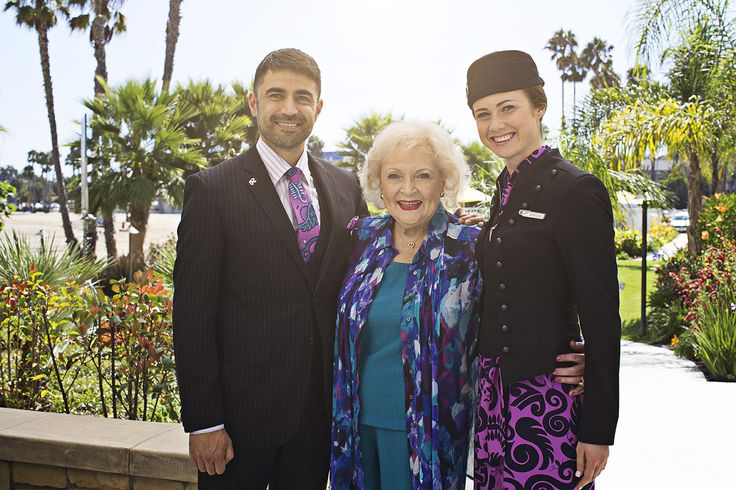 Betty White with Air New Zealand flight attendants Robert & Breone #AirNZSafetyVideo