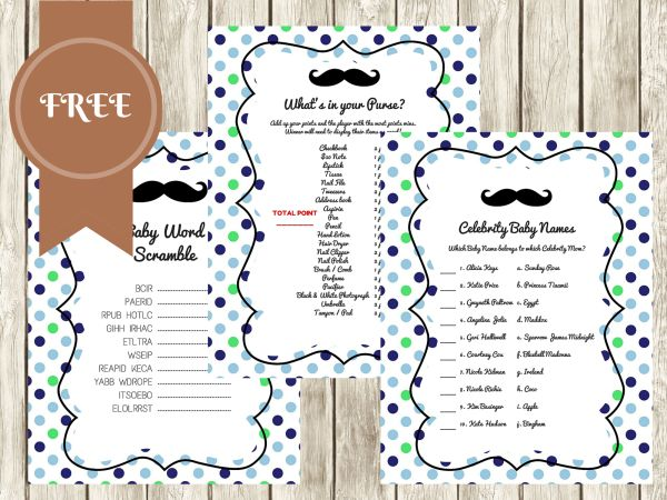 FREE Mustache Baby Shower Games, what's in your purse, celebrity baby names, baby word scramble #babyshowergames #babyshowerideas4u