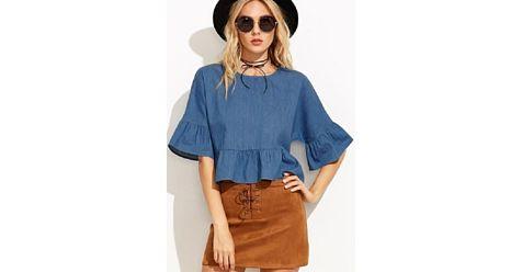 #Bluză de #damă, #fashion, slim fit, cu mâneci scurte evazate. #Bluze de #damă, #oferte #online.# Okkut.com, cel mai mare #mall #online din #România! Hai la #shopping!