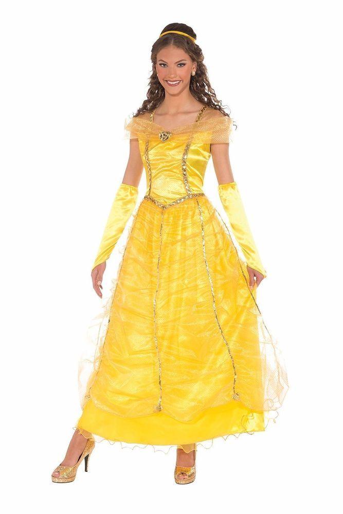 Golden Princess Yellow Dress Belle Beauty Adult Womens Fairy Tale Costume  #Halloween #CostumesforWomen #CoolCostumes