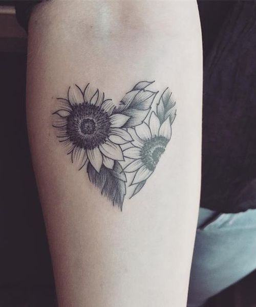 Cute Sunflower in Hear Tattoos Looks Beautiful on Wrist for Girls