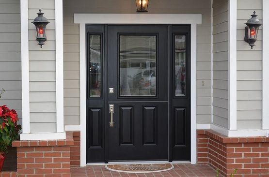 Black Dutch fiberglass entry doors with sidelights