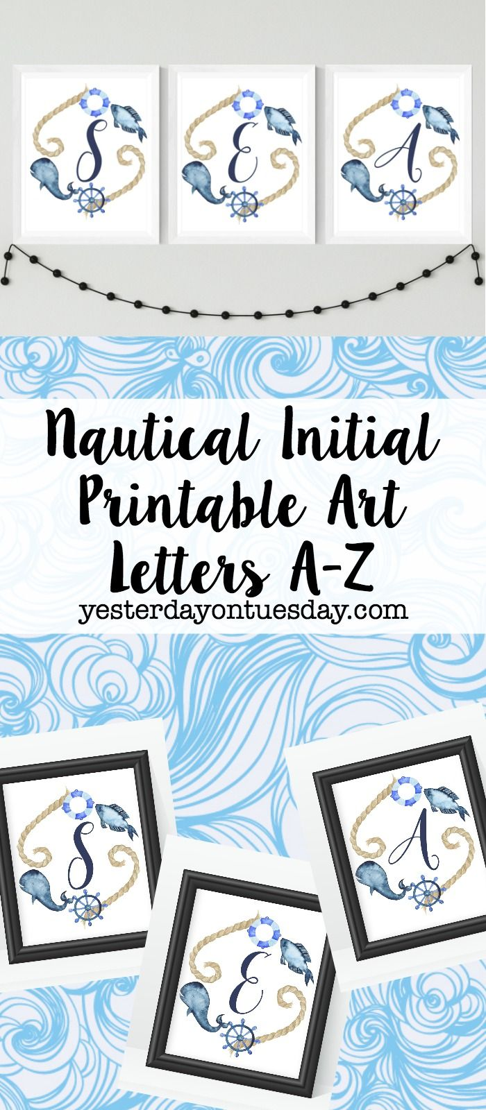 Beachy Initial Printables For Fun Coastal And Nautical Home Decorating