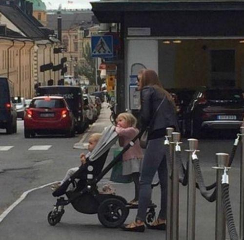 Princess Madeleine of Sweden with Princess Leonore and Prince Nicolas.  September 2016