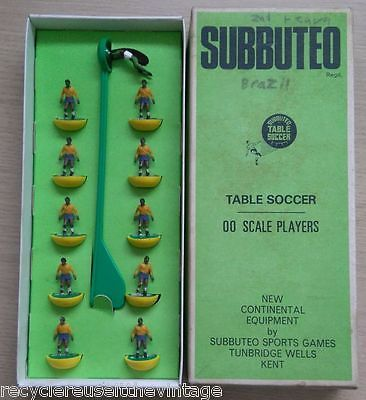 #Subbuteo #football team. brazil 1970 world cup team. yellow & green #bases,  View more on the LINK: http://www.zeppy.io/product/gb/2/131869515300/