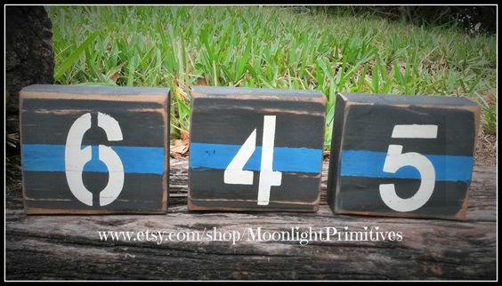 Police Badge Number Blocks, Police Wife, Fire, Thin Blue Line, Thin Red Line, Wooden Blocks, Firefighter, Law Enforcement, Police Officer by ONE11SIGNS on Etsy https://www.etsy.com/listing/253182358/police-badge-number-blocks-police-wife