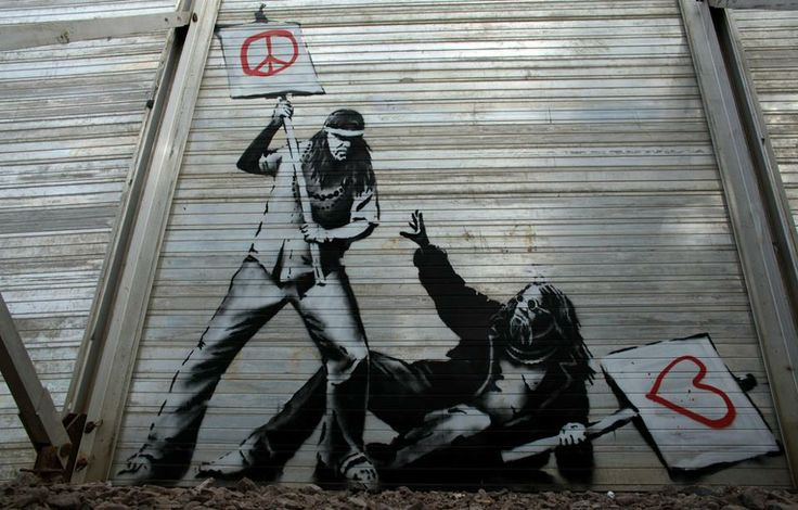 Love vs. Peace: Banksy Art, Urban Art, Graffiti, Street Art, Peace, Festival, Banksy Street, Streetart