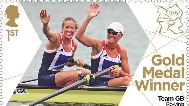 Britain's gold medallists celebrated with new Royal Mail stamps (Helen Glover and Heather Stanning gold medal stamp)