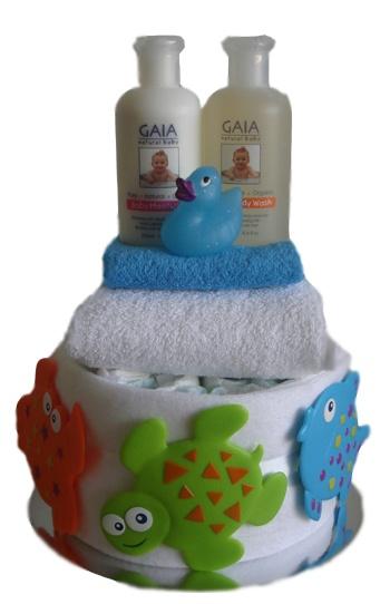 Single Tier Nappy Cake - Bathtime Bubbles    $80.00  15 Huggies newborn nappies  1 White hooded bathtowel  1 White Cloth Nappy  1 Cotton face washer  3 Suction bathtime buddy's  1 Baby bath & body wash 250ml  1 Baby moisturiser 250ml  1 Mini bath duckie