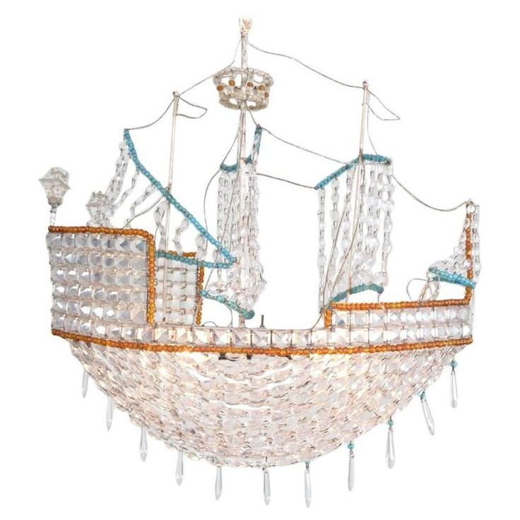 Beaded Glass Boat Chandelier | 1stdibs.com
