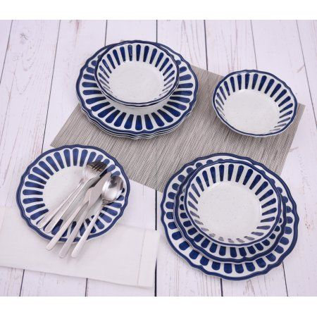 Mainstays Country Classic 12 Piece Striped Melamine Dinnerware Set