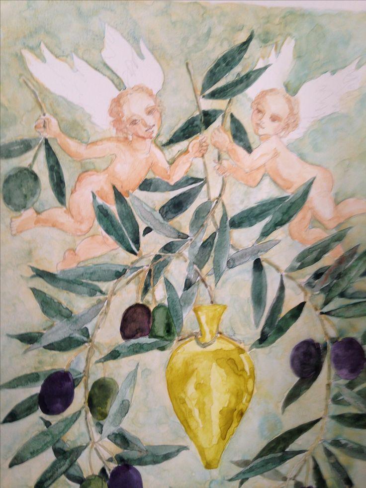 """"""" Viene el oro"""". Detalle.  Acuarela, de Marta Day. 2016 Para cosecha de artistas, en Zuccardi.  Olivo."""