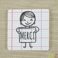 Magnet ''merci'' petit garçon - cadeau maîtresse, maître, atsem
