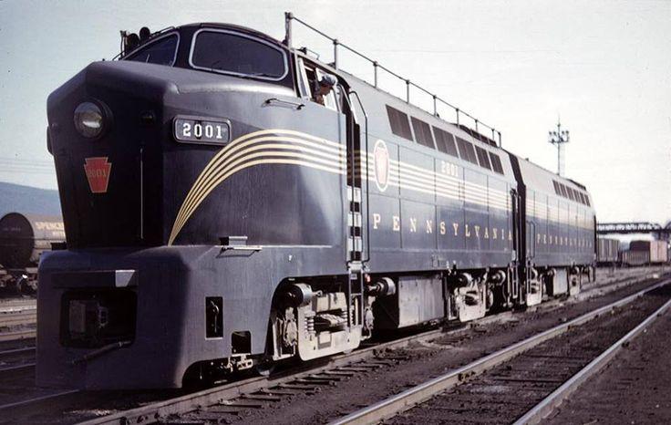 Pennsylvania Railroad RF-16 Class diesel unit #2001 in Altoona, Pennsylvania on September 10, 1951.