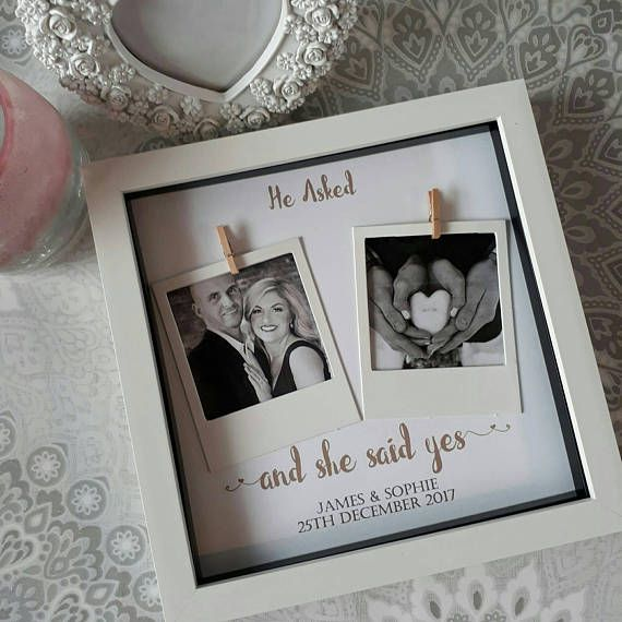 personalised engagement frame wood frame Personalised she said yes engraved engagement gift engagement gift, gift for couple