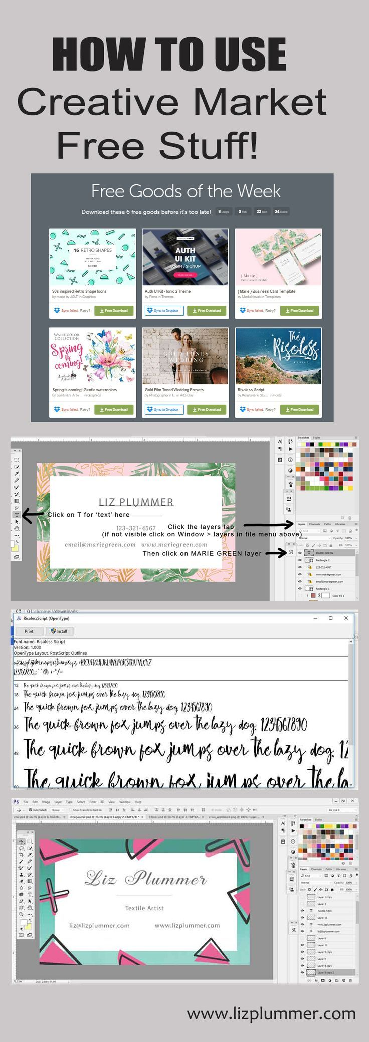 Free graphic design resources and how to use them - photo tutorial using Photoshop to download Creative Market's free products