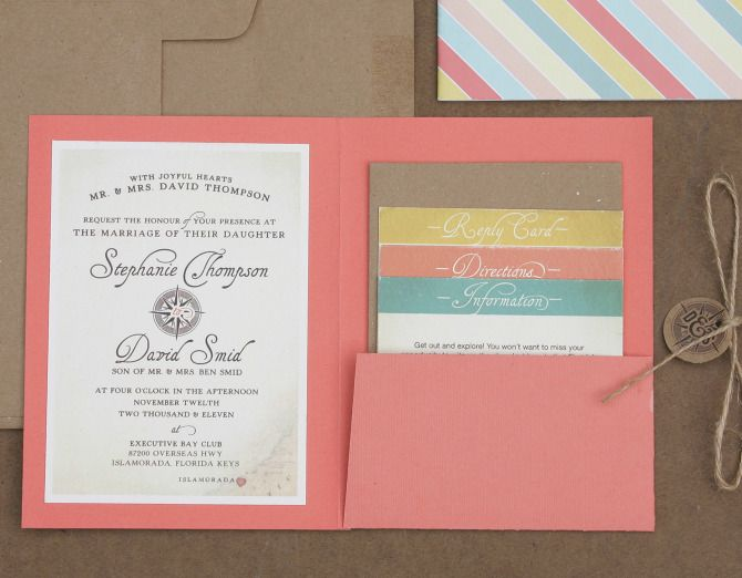 Love this style of wedding invite - with pull out tabs! Makes an otherwise boring invite fun!