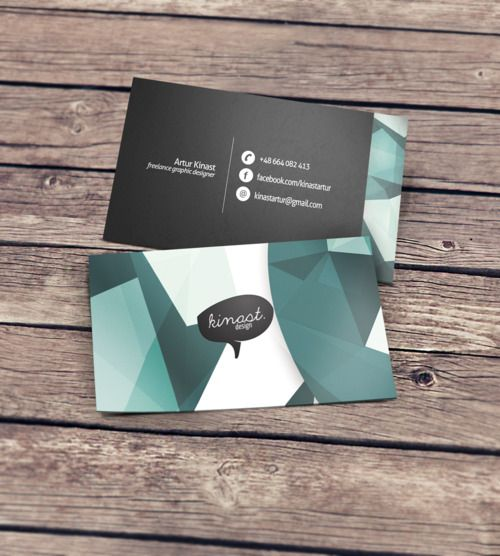 Business card featuring an abstract design
