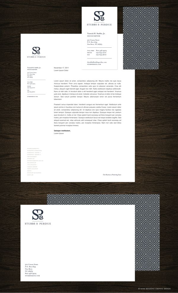 stubbs perdue stationery package by nina randone via behance businesscard letterhead letterhead examplesletterhead - Letterhead Design Ideas