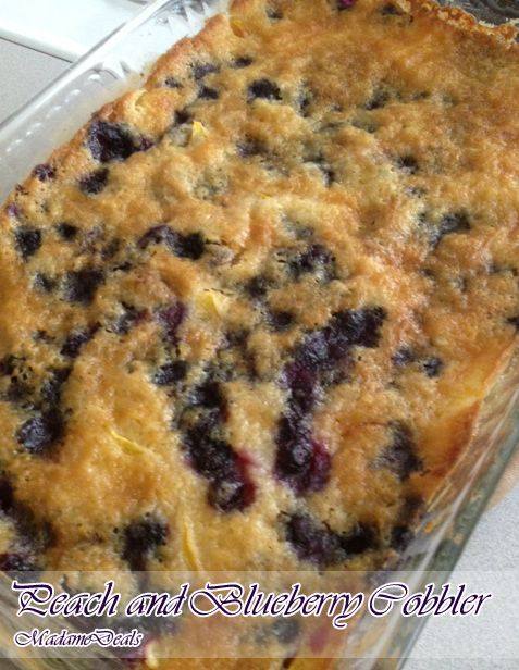 This peach and blueberry cobbler is a great and easy recipe that will make a great dessert!