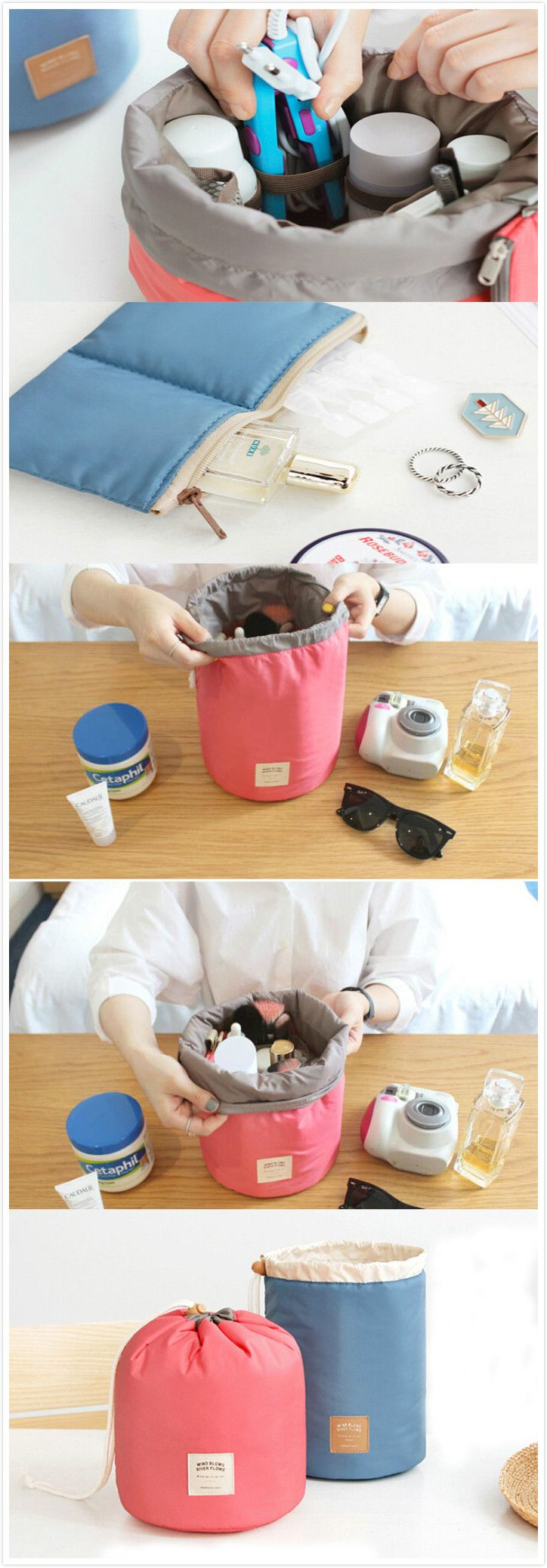 Multi-functional Barrel Cosmetic Makeup Bag,use the coupon code :Happyday07 #organization#