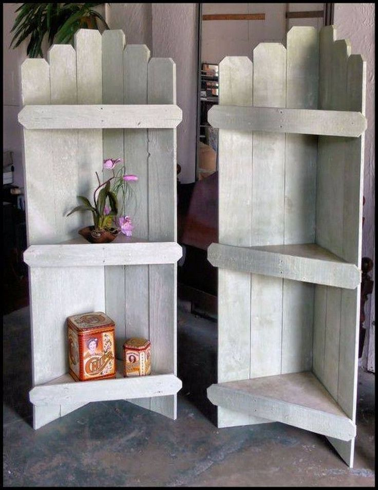 When a corner of a room is decorated with unique pieces of wooden pallet furniture, it looks superb. Making use of white paint to paint the cupboard makes the shelf look beautiful