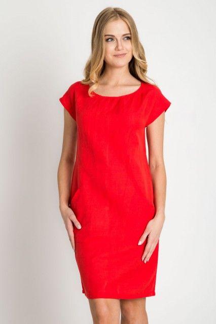 39729fff1a Czerwona lniana sukienka
