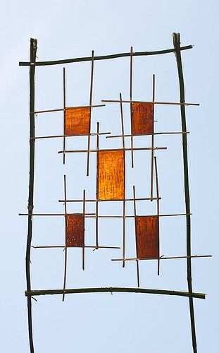 Richard Shilling - Land Art: Birch Bark Squares in the Sky (Arrangements question)