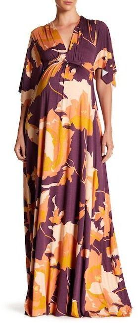 Rachel Pally Maternity Printed Long Caftan Dress (Maternity)