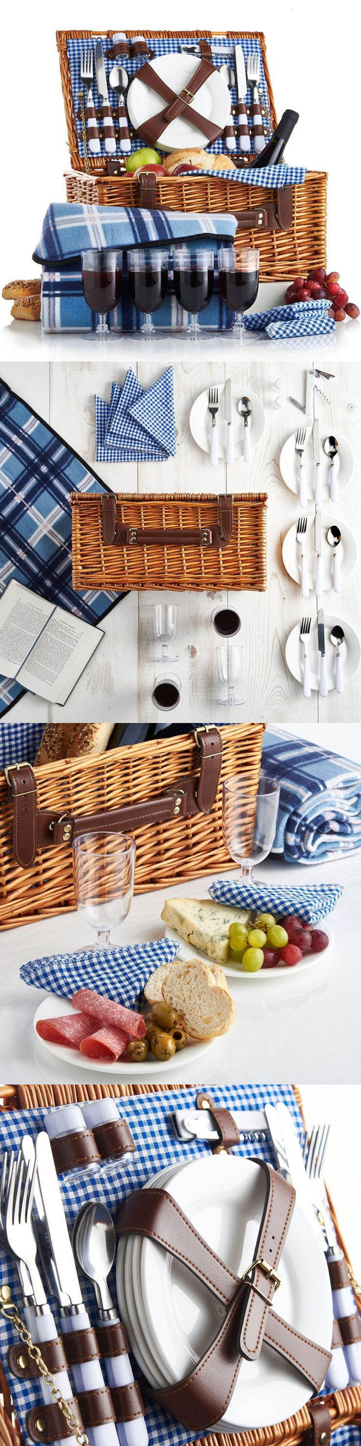 Picnic Baskets and Backpacks 38249: New 4 Person Wicker Picnic Basket Set Flatware Plates And Wine Glasses Blanket -> BUY IT NOW ONLY: $65.52 on eBay!
