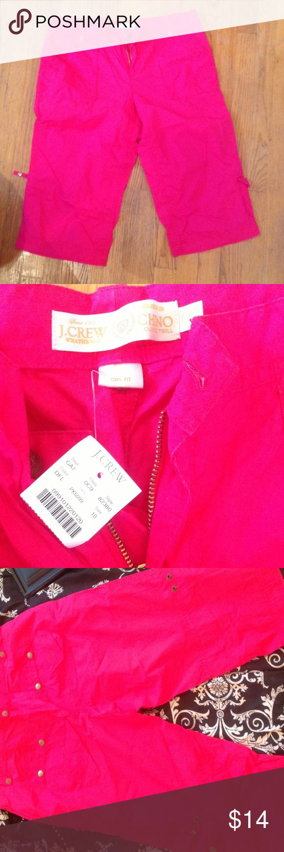 J crew bold pink capris These comfy capris are the perfect way to stand out on those summer camping and hiking adventures! Lots of pockets to carry all your necessities- who says you have to look rough when roughing it? J. Crew Pants Capris