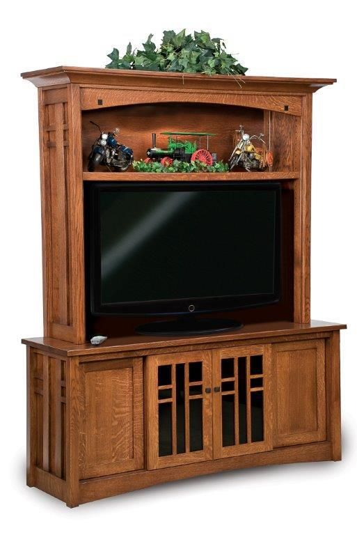 Amish Kascade Mission Hutch Entertainment Center Keep collections stored neatly in the storage provided by the magnificent Kascade.