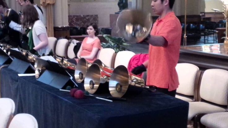 Bell choir at the Basilica of the Sacred Heart at Notre Dame in South Bend, Indiana.  They are playing for last time this year.  This is a small portion of the music piece they were playing after Mass on Sunday, May 1, 2016.