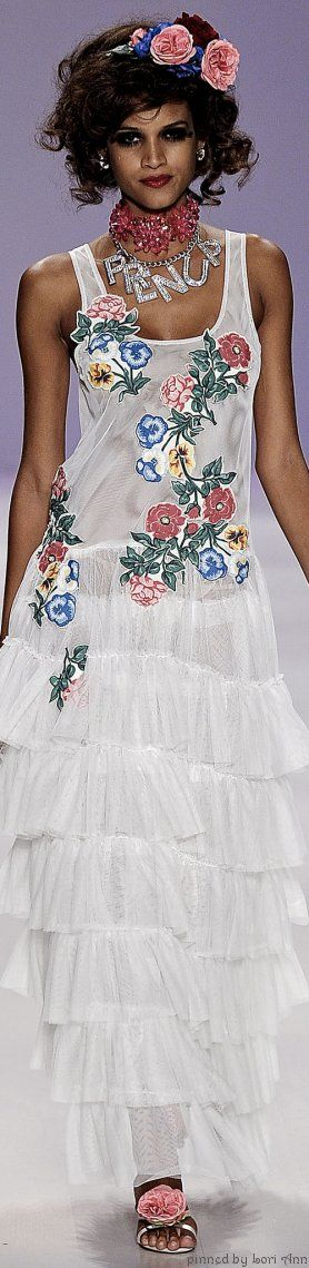 Betsey Johnson Spring 2015--Looks like a sixth grade sewing student made this childishly ruffled dress!