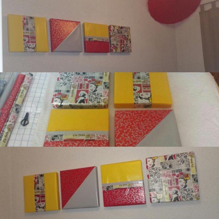hacer cuadros economicos originales y coloridos con cajas de pizza en mi habitacion de