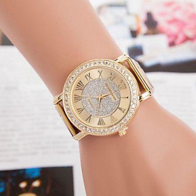 reloj reloj de cuarzo de acero de diamantes de oro de los hombres - MXN $ 224.21