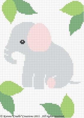 ELEPHANT Baby Afghan Graph Crochet Pattern (ebay $4,95)