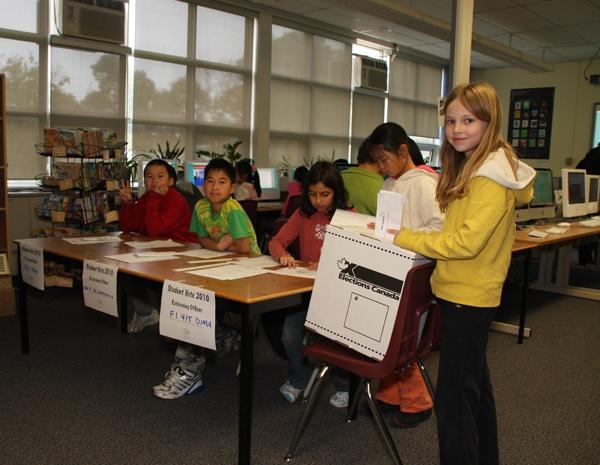 Students vote at North Agincourt Jr. Public School.