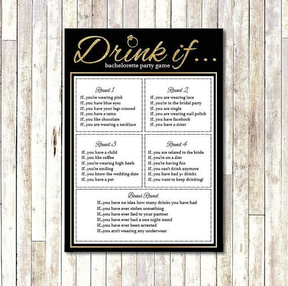 Bachelorette Party Game Printable- Drink if.... Instant Download Hens Party Game