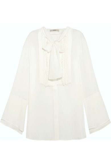 Etro - Pussy-bow Pintucked Silk-georgette Blouse - White - IT50