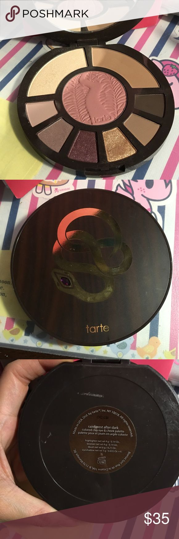 Tarte rainforest after dark palette This is a lightly used rain forest after dark eyeshadow, highlighter and blush set.  Super pretty but purple isn't my color so I'm selling it. 🚫NO TRADES🚫 price is pretty firm. I (📦PLEASE NOTE, if you purchase from me on a Friday, I will not be able to ship until Monday afternoon). I have merc so ask before you buy. Tarte Makeup Eyeshadow