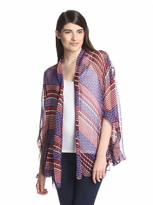 78% OFF Anna Sui Women's Diagonal Print Crinkle Chiffon Kimono (True Red Multi)