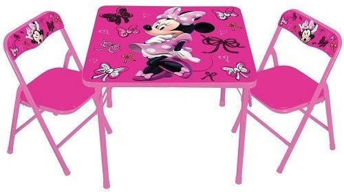 Kids Table And Chair Set Activity Play Study Furniture Pink Girls Disney Minnie #Disney