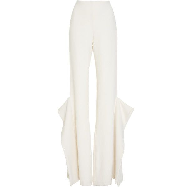 Leal Daccarett Tucan Flared Pant ($1,250) ❤ liked on Polyvore featuring pants, white, high rise pants, white flare pants, high waisted flare pants, white wool pants and high-waisted pants