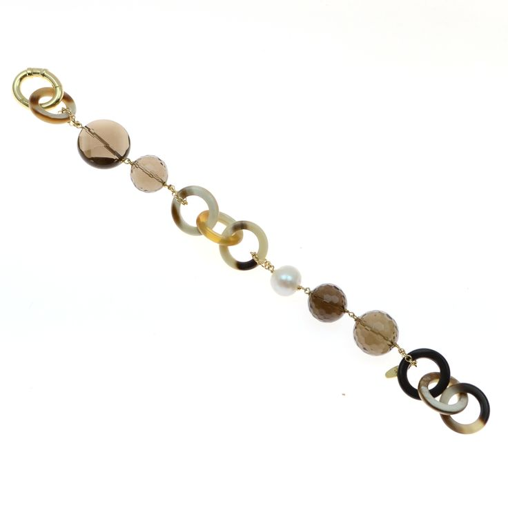 Bracelet made of sterling silver 925 and natural horn with quartz stones and natural pearl
