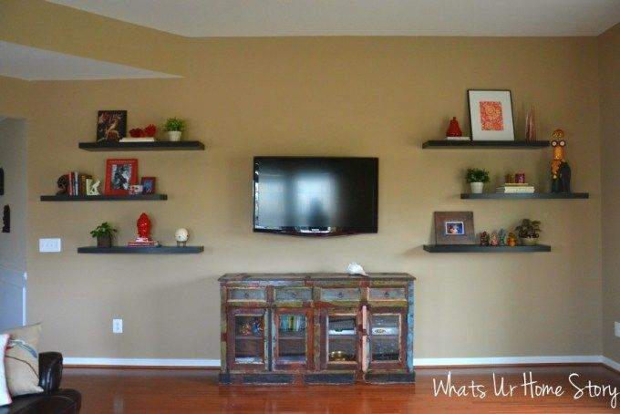 Great idea to balance the TV on the TV wall - Add floating shelves on either side!