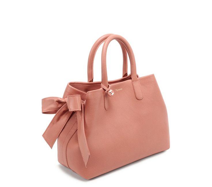 Carolyn shopping bag Pink peach Excideuil calfskin