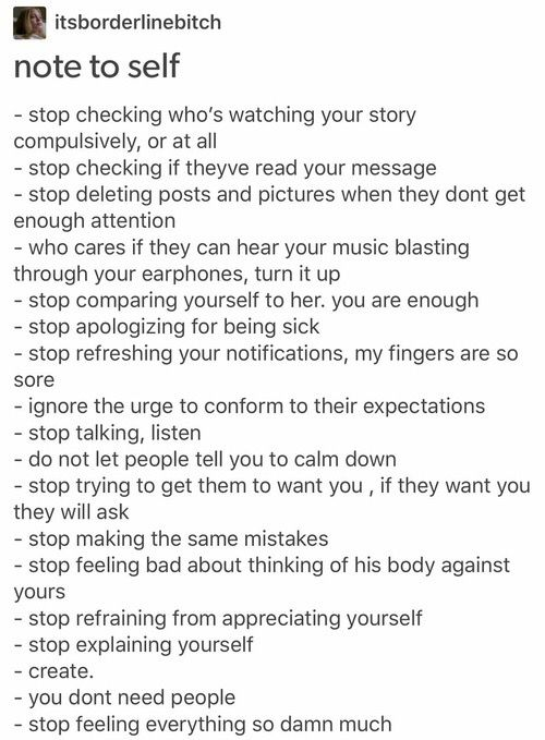 Just a few reminders. Don't focus so much and care so much about what other people are thinking, and focus on loving and understanding yourself.